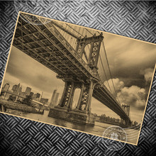 New York Brooklyn Bridge Vintage poster Paper retro HD photo USA building wall old sticker prints posters living room painting