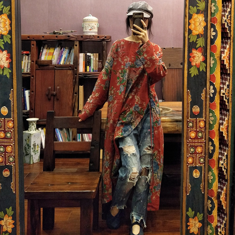 Johnature Vintage 2021 Frühling Drucken Kleid Gerade Regelmäßige Volle Hülse Mid-kalb Oansatz Retro Baumwolle Nationalen Stil Frauen Kleid