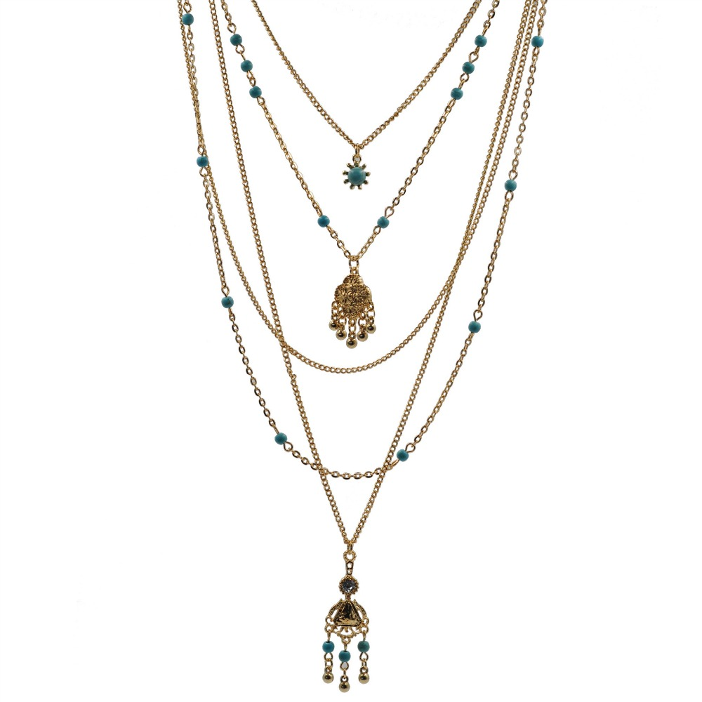 2016Hot Sale Ethnic Bohemia Flower Necklace Women Vintage Multi Layered Charm Necklaces for Women Boho Retro Necklace Wholesaler