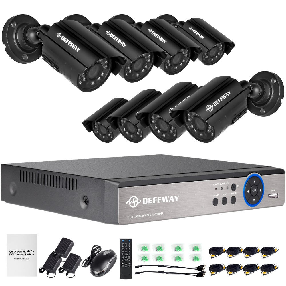 DEFEWAY 8 1200TVL 720P HD Utomhus CCTV Security Camera System 1080N Home Video Surveillance DVR Kit 8 CH 1080P HDMI Output