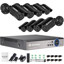 DEFEWAY 8 1200TVL 720P HD Outdoor CCTV Security Camera System 1080N Home Video Surveillance DVR Kit 8 CH 1080P HDMI Output
