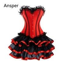 Waist Trainer Corset Dress Plus Size Women club Burlesque Overbust Corset With Mini TuTu Skirt Fancy Dress Costume S 6XL