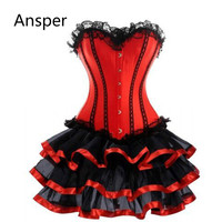 Waist Trainer Corset Dress Plus Size Women club Burlesque Overbust Corset With Mini TuTu Skirt Fancy Dress Costume S 6XL