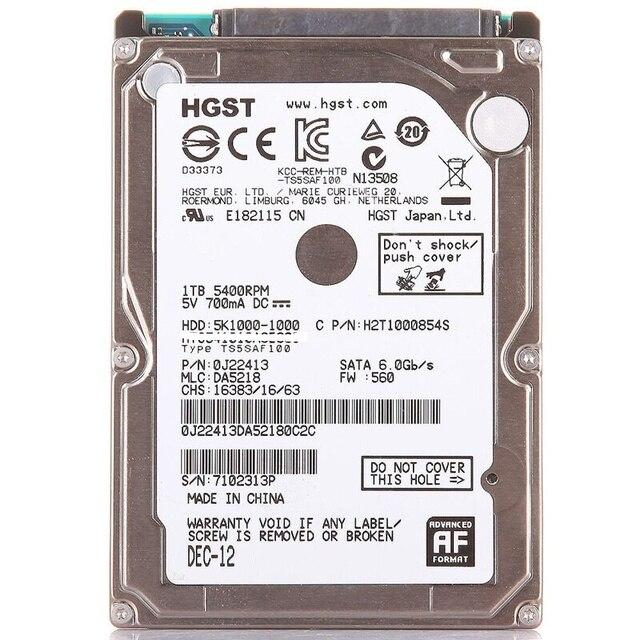 """HGST جديد 2.5 """"HDD 1 تيرا بايت 5400 دورة في الدقيقة (1000 GB) كمبيوتر محمول داخلي محركات الأقراص الصلبة القرص SATAII 1t للكمبيوتر المحمول hts541010auge680 9.5 مللي متر 5K1000"""