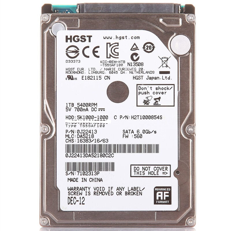 """HGST NEW 2.5"""" HDD 1TB 5400RPM (1000GB) Internal Laptop Hard Drives disk SATAII 1t  for Notebook HTS541010A9E680 9.5mm 5K1000-in Internal Hard Drives from Computer & Office    1"""