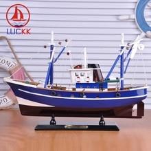 цены на LUCKK 45CM DIY Wooden Model Ship For Fishing Blue Home Decoration Sea Style Office Wood For Crafts Sailing Model Gift Souvenirs в интернет-магазинах