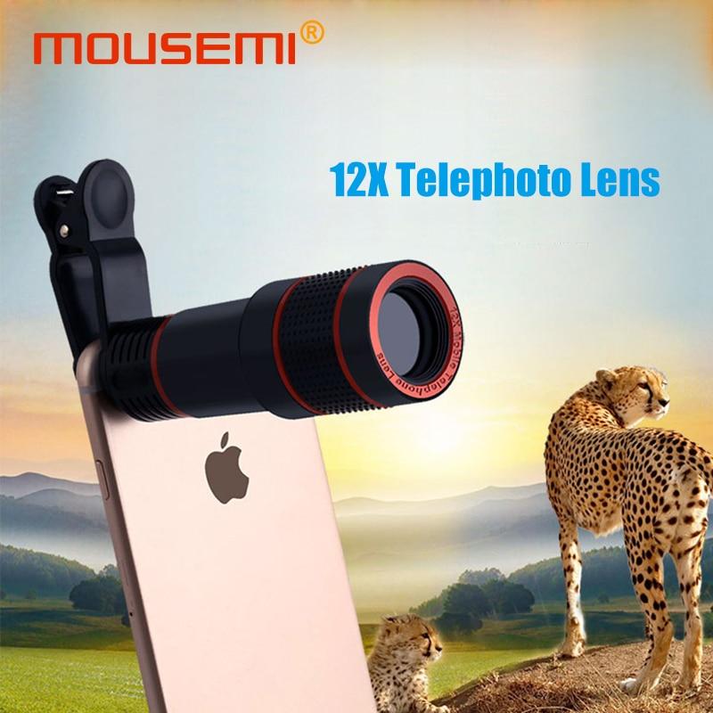 MOUSEMI 12X Handy Objektiv Für iPhone Universal Clip 12x Zoom Celular Objektiv Für Smartphone Kamera Objektive auf telefon Tele