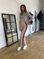 2018 Summer/Spring Lady New Split Wide leg Pants Side Button Up Trousers Loose Casual Striped Pants Wide Leg Track Suit Pants