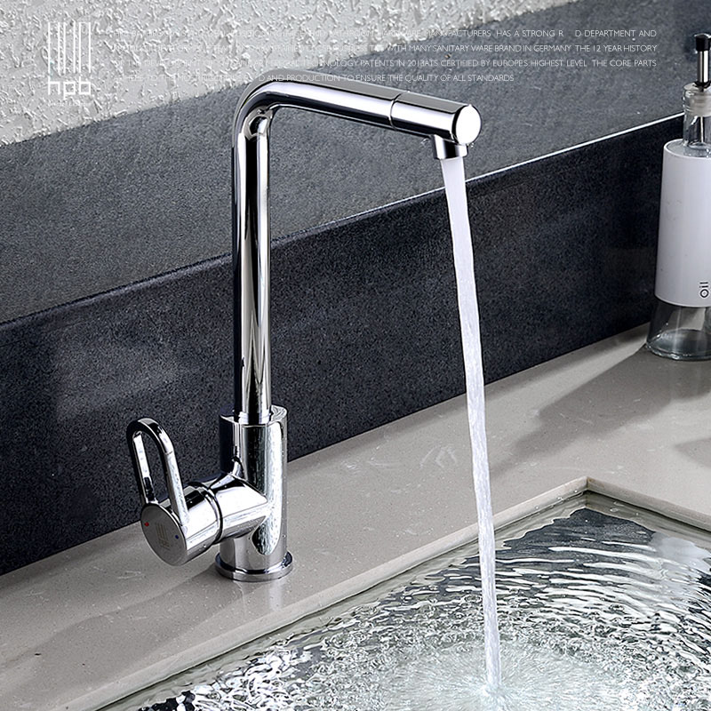 HPB Brass Kitchen Sink Faucet Cold Hot Mixer Tap Single Hole Handle taps torneira cozinha Chrome Swivel Spout HP4002 free shipping high quality chrome brass kitchen faucet single handle sink mixer tap pull put sprayer swivel spout faucet