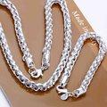 Moda 925 plata de la joyería, plata Twisty Circle cadena, collares de plata, pulsera de plata S059