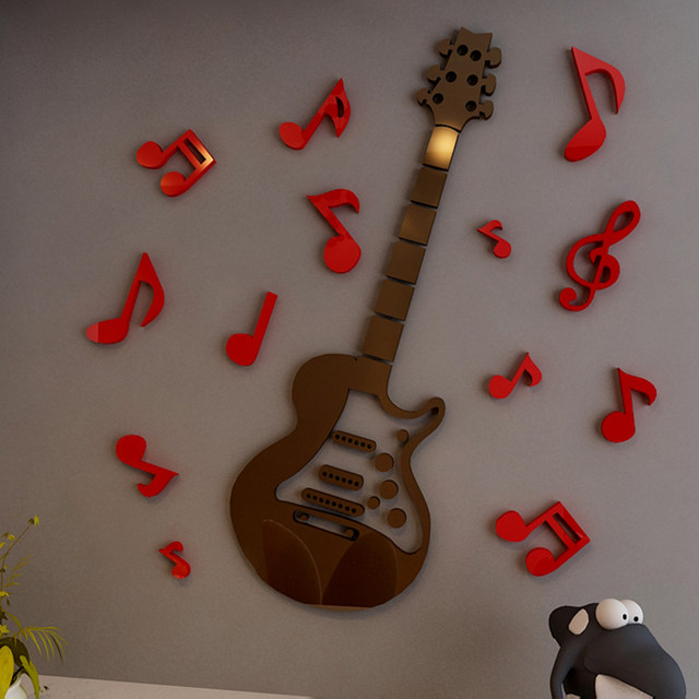 Online Shop 3d Crystal Guitar Wall Stickers Acrylic Cartoon Wall ...
