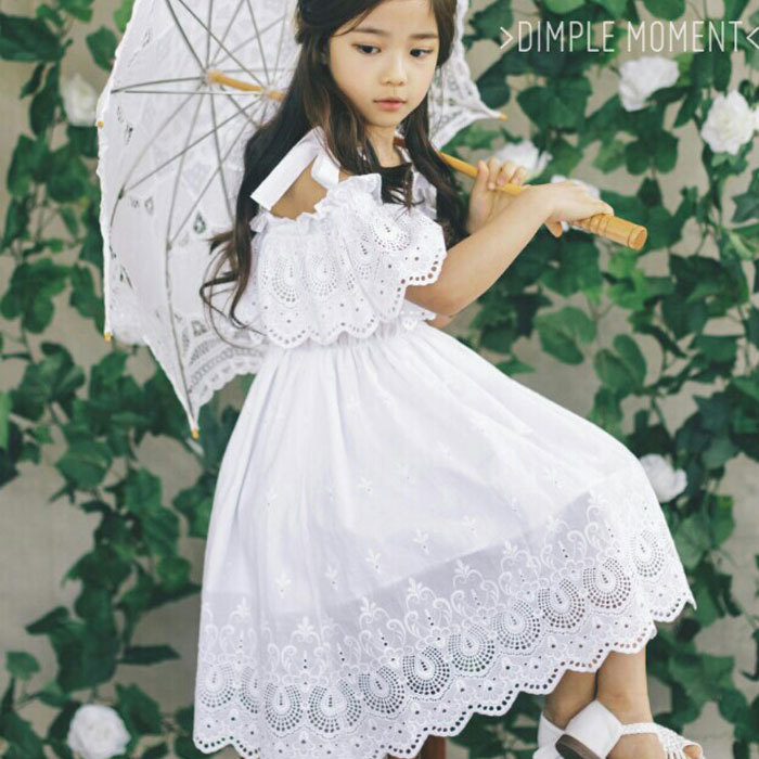 5490 White Hollow Princess Baby Girls Dress Lace kids dresses for girls summer children clothing wholesale kids toddler clothes ladybird appliques dress wholesale clothing for girls princess baby boutique o neck clothes children polka dot dresses 6pcs lot