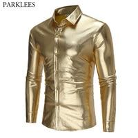 Gold Coated Metallic Shirt Men 2017 Night Club Wear Men Shirt Autumn Slim Fit Chemise Homme Casual Button Down Mens Dress Shirts