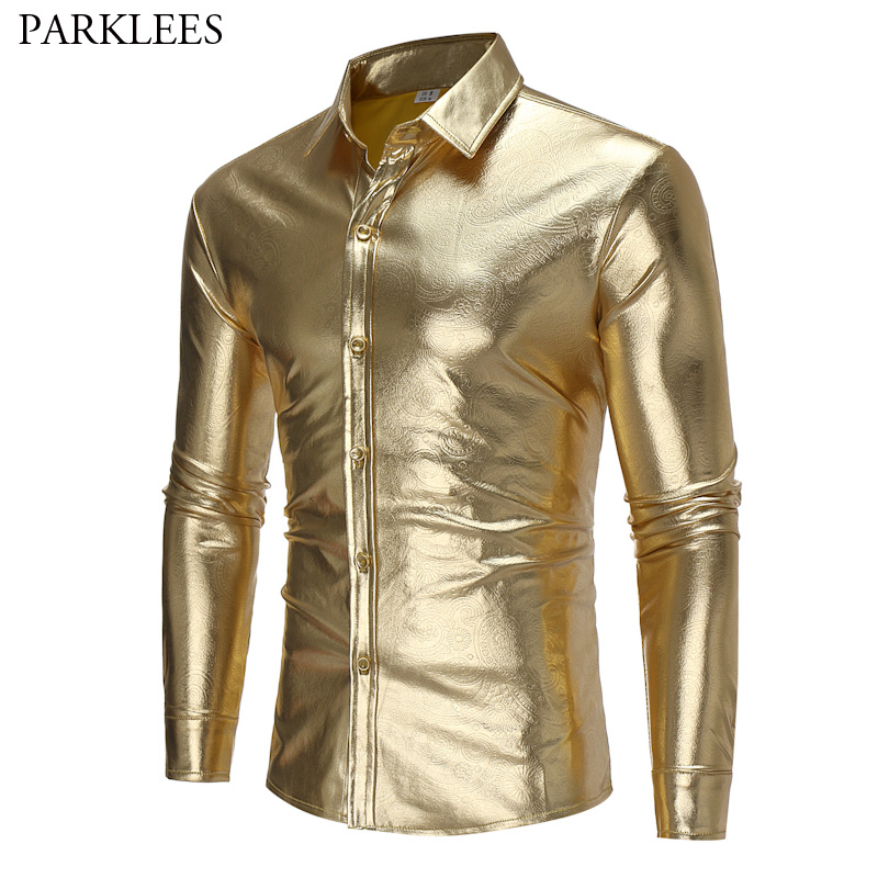 Gold Coated Metallic Paisley Shirt Men 2017 Night Club Wear Shirt Slim Fit Chemise Homme Casual Button Down Mens Dress Shirts
