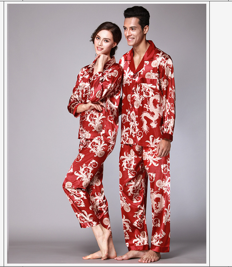 Autumn Spring Couple Pajamas Men Women Sexy Satin Silk Pajama Pants Sets Blue Long-Sleeved Pyjama Lounge Sets Lovers Sleepwear