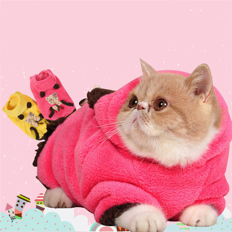 Thermal Soft Coral Velvet Cat Clothing Lovely Winter Two Legs Cat Jacket Coat Pet Clothes