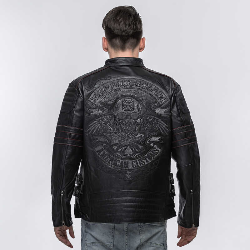 96faefe78c0 ... HARLEY DAMSON Black Men Skull Embroidery Biker s Leather Jacket Plus  Size XXXXL Genuine Thick Cowhide Russian ...