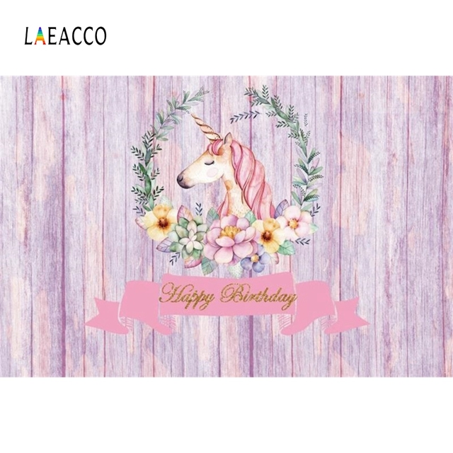 Laeacco Birthday Party Unicorn Wreath Cartoon Scene Baby Background Photography Kid Vinyl Photographic Backdrop For Photo Studio