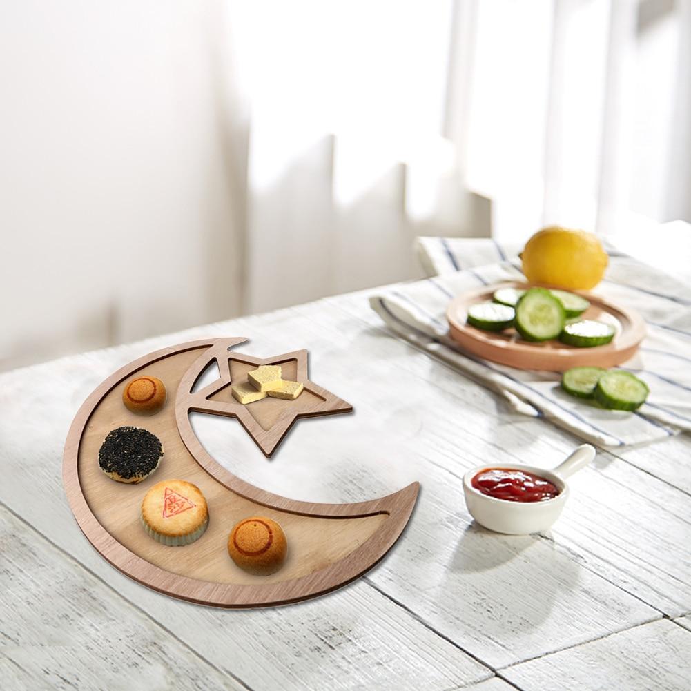Wooden Crescent Moon Star Eid Ramadan Party Food Serving Tableware Dessert Wooden Dinner Plate Home Ramadan Food Serving Tray