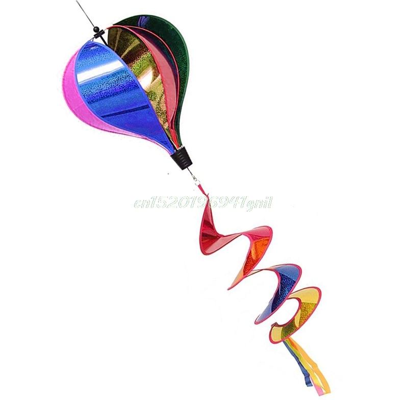 Colorful Rainbow/Grid Hot Air Balloon Stripe Windsock Wind Spinner Garden Yard Outdoor Decor