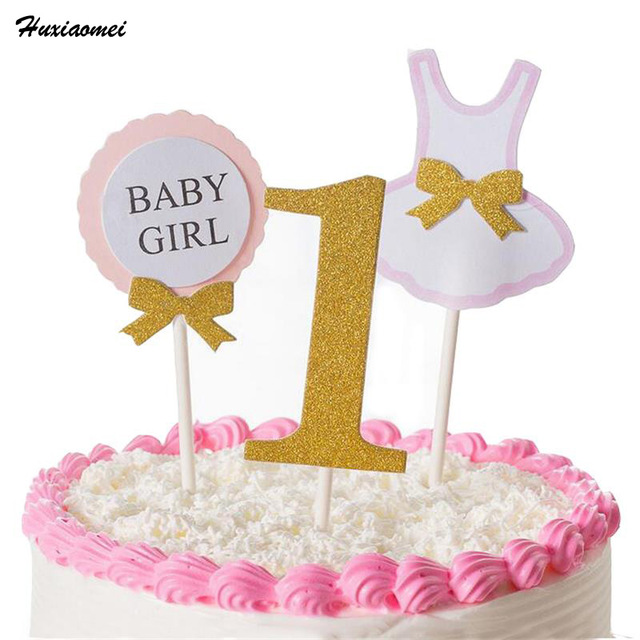 Huxiaomei 3Pcs Cake Topper Flag Baby Boy Girl 1 Year Old Age Happy Birthday For Party Decoration