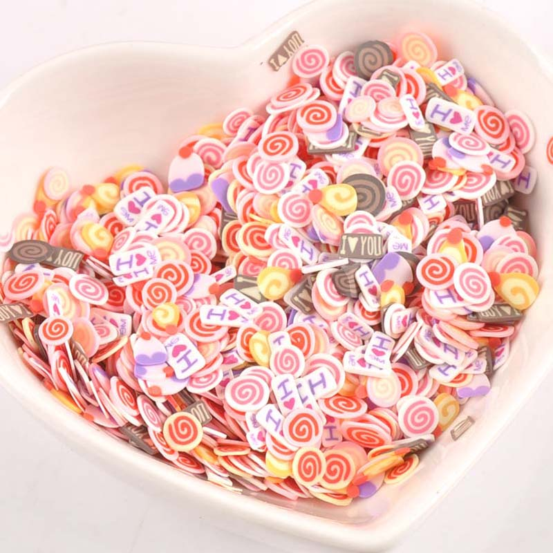 1000pieces Decor Lollipop Polymer Clay Toy Diy Slime Accessories Decoration Jelly Mud Hand Gum For Kids Nails Art Tips Cp2212 Carefully Selected Materials Home & Garden