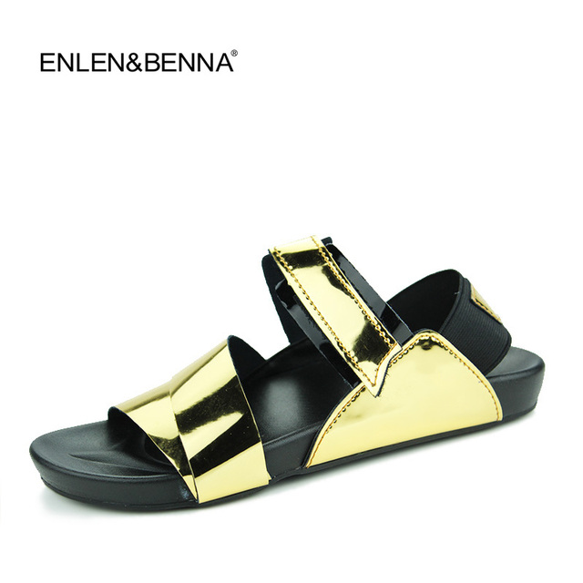 400658004b US $20.75 48% OFF New arrival 2016 summer male sandals men gold leather  shoes open toe sandals slippers fashion casual beach gladiator sandals-in  ...