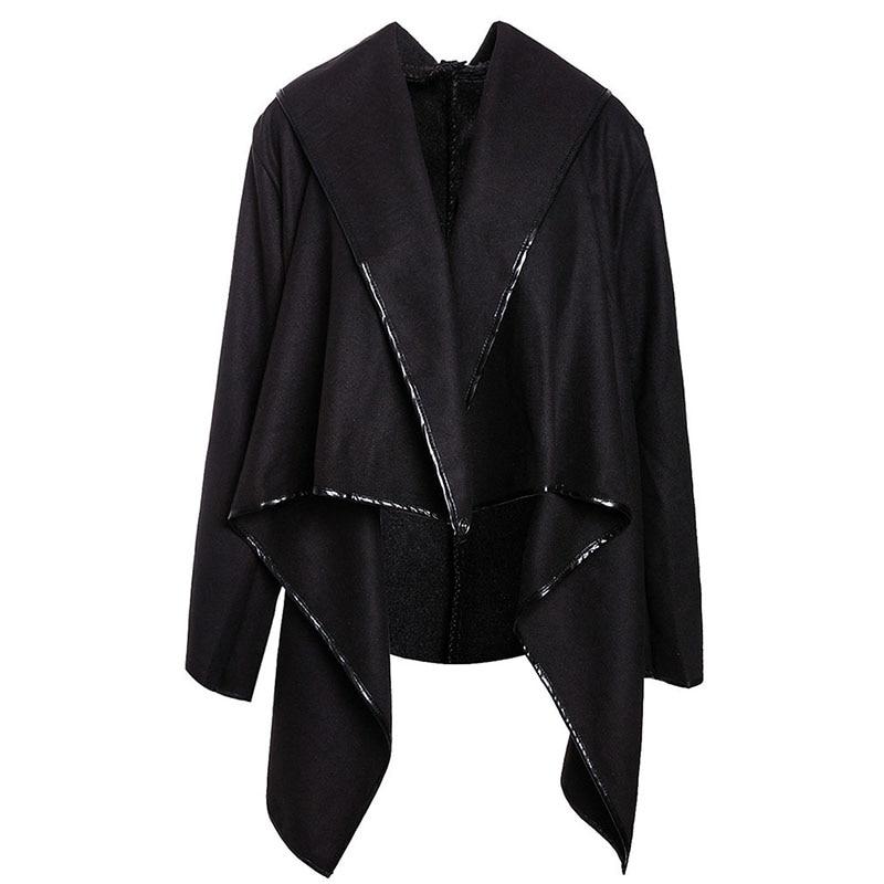 2018 New Autumn Fashion Irregular Trench Coat Women Long Overcoats Solid Coat Female Warm Long Sleeve Zipper Overcoat IU901663