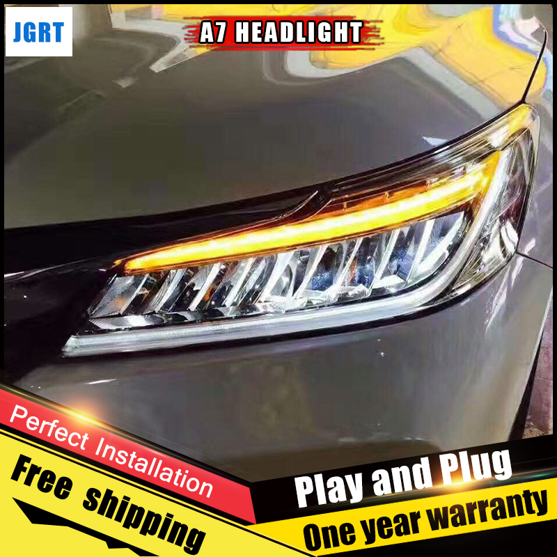 2PCS Car Style LED headlights for Honda Accord 2016 for Accord head lamp LED DRL Lens Double Beam H7 HID Xenon bi xenon lens auto lighting style led head lamp for porsche cayenne headlights for cayenne led angle eyes drl h7 hid bi xenon lens low beam
