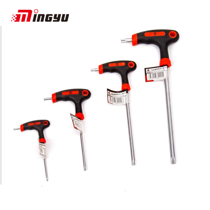 1pc Box End Wrench Bicycel Repair Tool Anti Tamper Proof Torx Key Bit Wrench T-Shape Long Sleeve Arm Star Hex Key Spanner