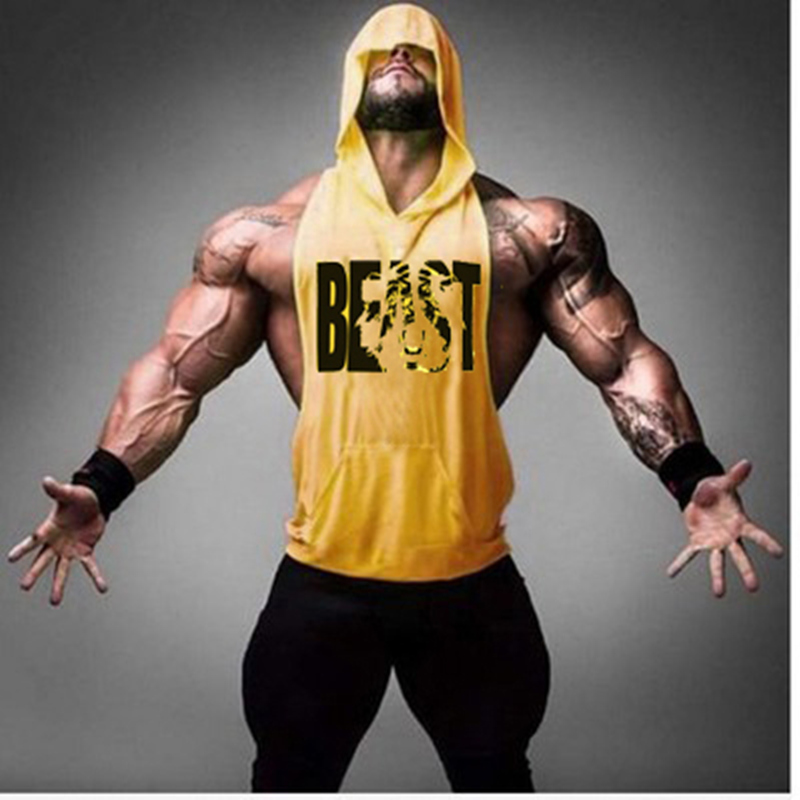 Gyms Brand clothing Bodybuilding Fitness Men   Tank     Top   workout BEAST print Vest Stringer sportswear Undershirt Hoodies