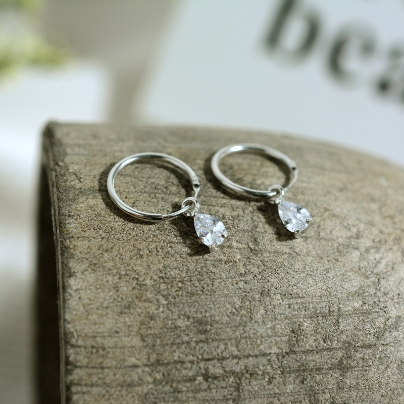 925 Sterling Silver Drops of Water Ear Ring New Pattern Insert Drill Simple Female ZC148