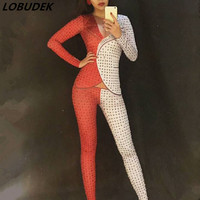 Red White Mosaic Full Rhinestones Leotard jumpsuit Bar female singer DJ stage Costume Celebration Party show sexy Catwalk Outfit