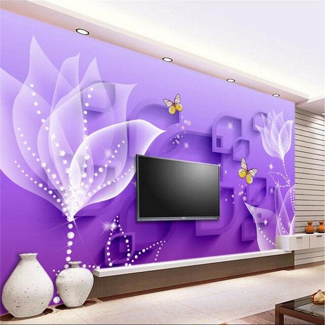 Beibehang custom photo wallpaper mural wall sticker purple lily transparent flower fashion 3d backdrop wall papel