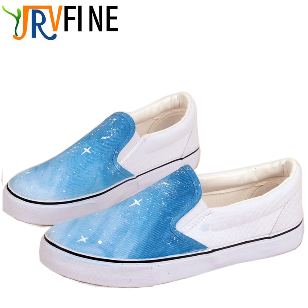 ФОТО YJRVFINE Classic Gradient Multi-color Graffiti Shoes Girls Hand-painted Breathable Casual Shoes Women Canvas Slip-On Shoe