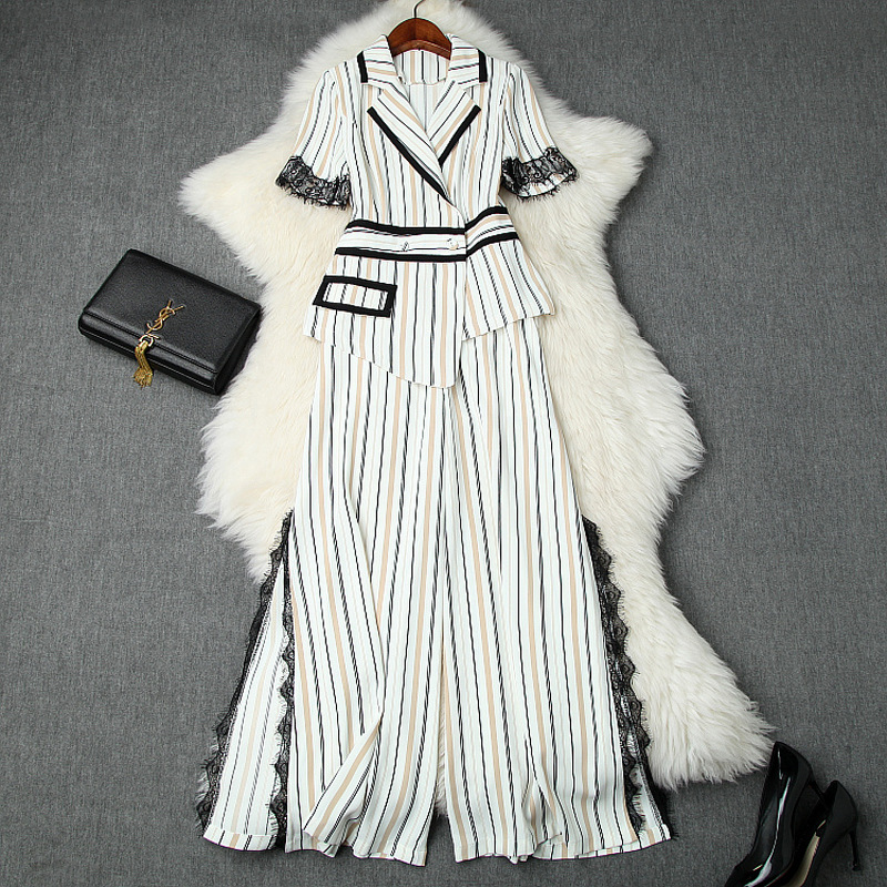 Pant Suits Office Ladies 2019 Spring Summer New Stripes Short Sleeved Irregular Blazer Top + Lace Patchwork Split Wide Leg Pants