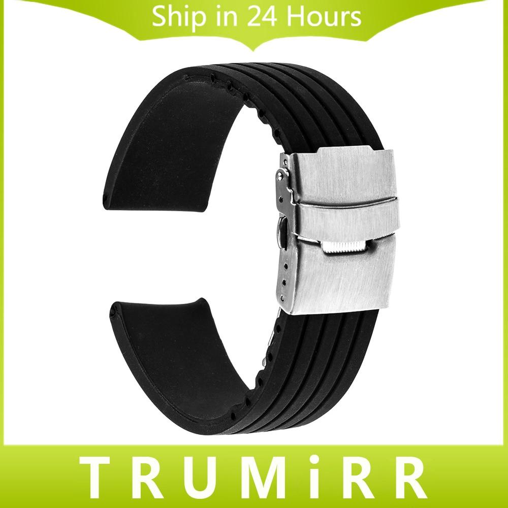 Prix pour Silicone Bracelet En Caoutchouc pour Asus Zenwatch 1 2 22mm LG Watch W100 W110 Urbain W150 Pebble Temps Inoxydable Boucle En Acier Bande Bracelet