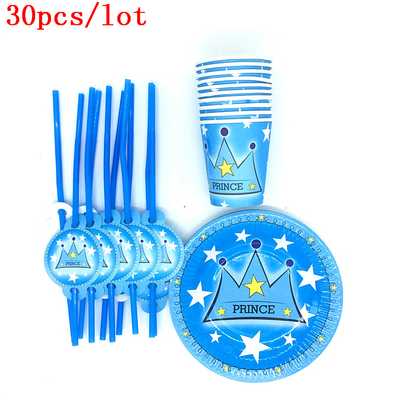 Prince Blue Crown Theme Happy Birthday Party  Baby Shower Paper Plates Cups Kids Favors Straws Decoration Supplies  30Pcs\Lot
