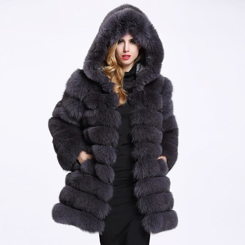 Female Fur Coat Fox 40% Natural Winter Female Fox Fur Coat With Fur Vest Female  Fox Coat