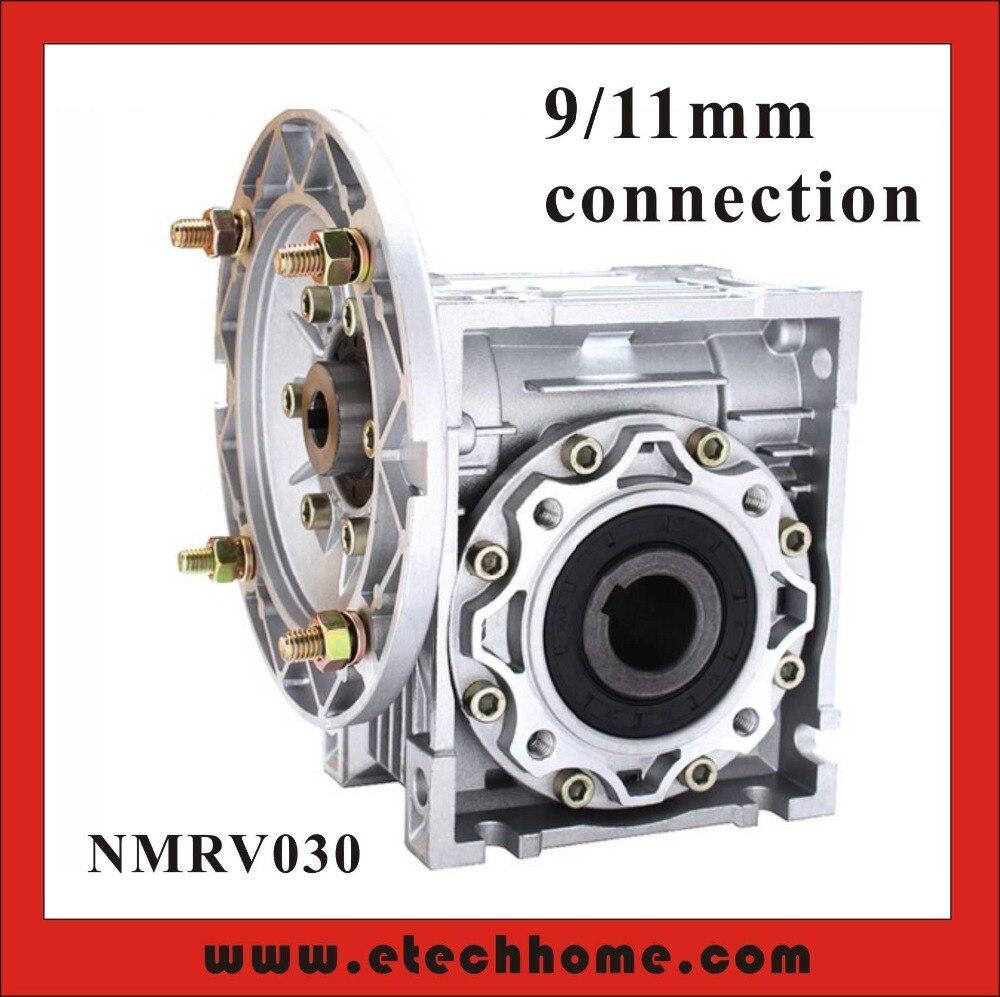 90 degrés Boîte NMRV030 Vis sans fin Réducteur de Vitesse 5:1-80: 1 pour 9mm ou 11mm arbre d'entrée RV30 Ver Boîte De Vitesses