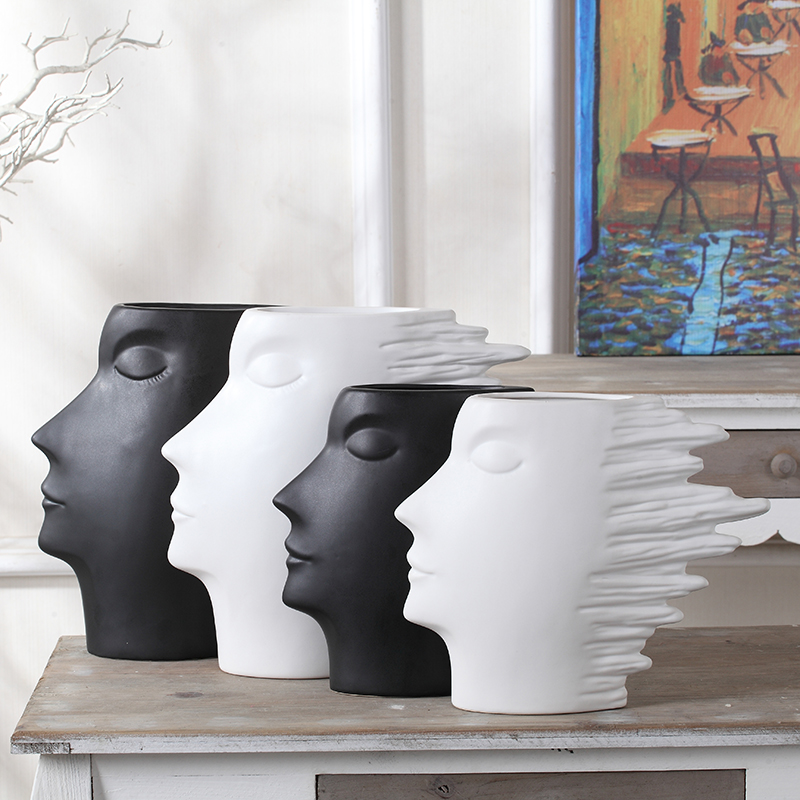 Nordic Creative Home Furnishings Living Room TV Cabinet Abstract Figure  Matte Black White Ceramic Vase Ornaments Inserted Head In Figurines U0026  Miniatures ...