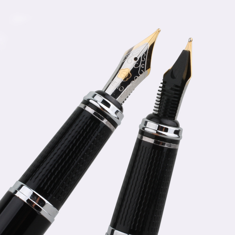 HERO 1017 Black and Silver Clip Fountain Pen 0.5mm Iridium Nib Metal Gift Inking Pens for Writing with Original Gift Case italic nib art fountain pen arabic calligraphy black pen line width 1 1mm to 3 0mm