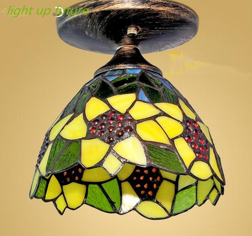2016 hand made glass tiffany aisle ceiling lights for foyer balcony ceiling lamps Dia 20cm E27 N1250 tiffany glass ceiling mediterranean style balcony aisle lighting dia 15 cm h 15 cm