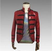 2019 Red Sparkly Sequins Men's Jacket Trendy Slim Outfit Nightclub Bar Host Men Singer Jacket DJ DS Dance Stage Show Outfit