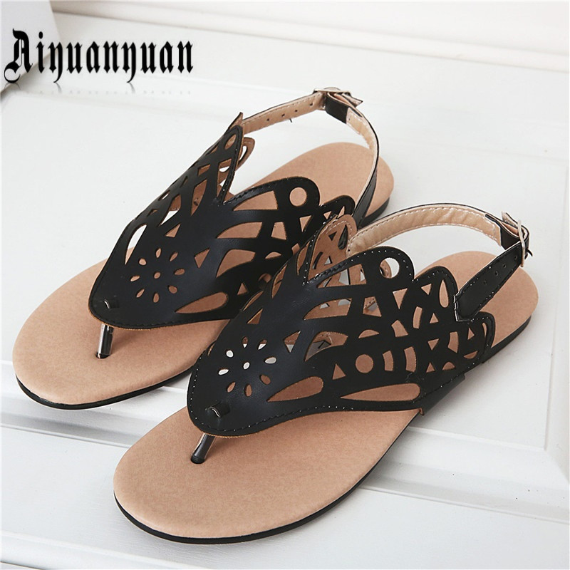 2016 PLUS EUR size 40 41 42 43 44 45 46 47 48 sweet lady sandals open-toe design cut-outs flats PU leather shoes free shipping free shipping breathable vap id 108905 108917 size eur 40 45