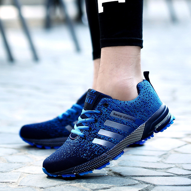 Plus Size 35-47 Running Shoes for Men Lace Up Athletic Shoes 2018 Outdoor Walking Jogging Shoes Women Air Mesh Breathable Sneake