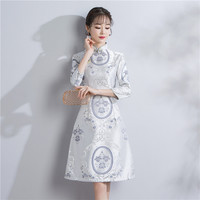 Shanghai Story Aodai Style Dress Chinese Traditional Dress Brocade Cheongsam Qipao dress Knee Length Floral Vintage Dress