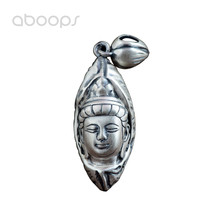 Vintage 990 Sterling Silver Buddha Amulet Pendant with Lotus Leaf for Men Women Free Shipping