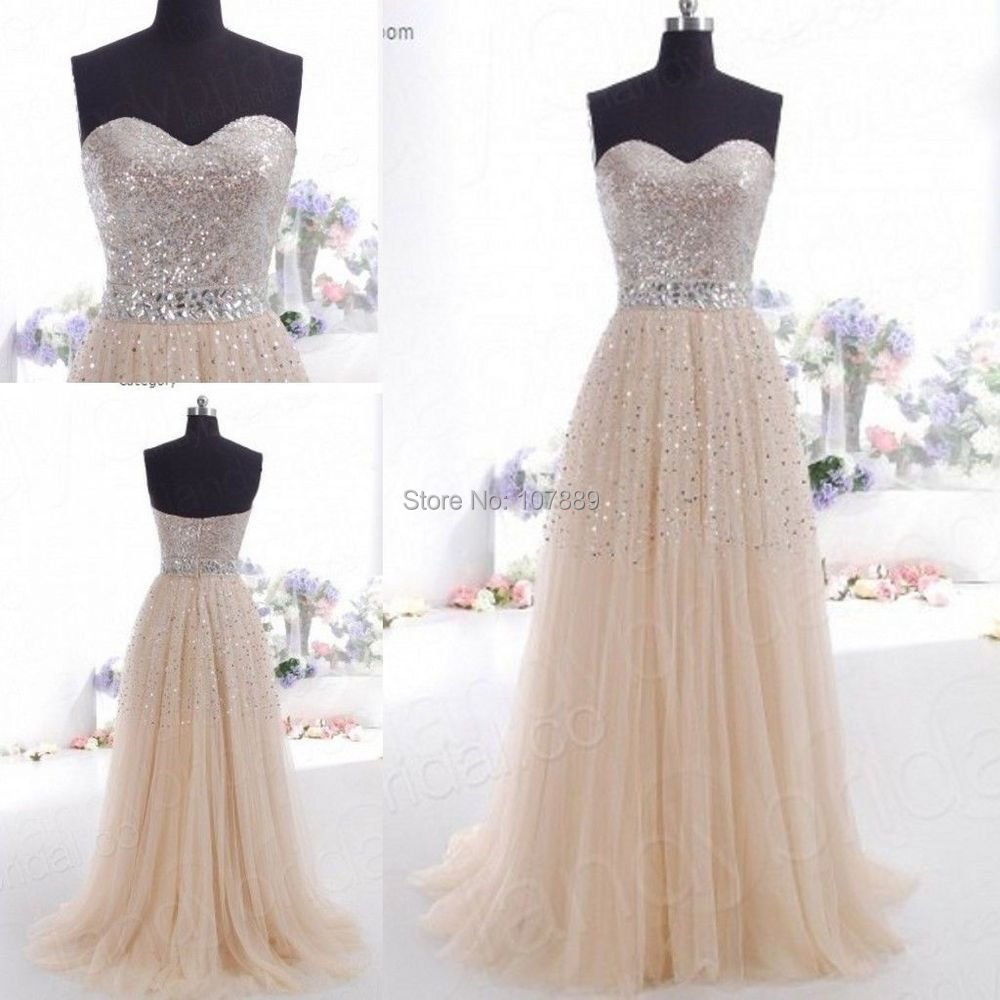 In Stock Long Sweetheart A Line Champagne Formal Prom Dress Free