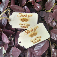Personalized Custom 50pcs 70x38mm Wooden Wood Engraved Thank You Wedding Tags Rustic Bridal Shower Favors Decoratis with Rope